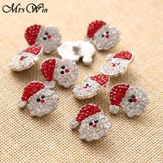 10pcs/lot Christmas Snaps Santa Claus Christmas Rhinestone Ginger Snap Jewelry 18mm Button Fit Charm Bracelet Snap Jewelry