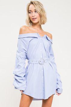 bf54ce65 Livvy Off Shoulder Shirt Dress - Geegeebae Off Shoulder Shirt, Off The  Shoulder, Fall