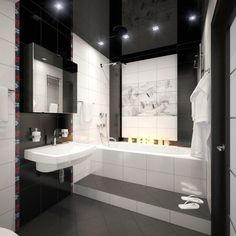 Kleines Badezimmer Fliesen Ideen Schwarz Weiss Kombination Matt | BAD |  Pinterest | Bath, Interiors And Room