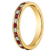 This original Benchmark Brand hand-made Ruby-Diamond stackable eternity ring is a show stopper. It is crafted in 18kt yellow gold and contains .16ct round brilliant cut diamonds and .22ct natural red rubies, set in an alternating pattern. This ring is 3mm and it could be stacked with other bands you have.  Available in different colors. Production time 8-16 business days. OKG Jewelry - Little Neck Jewelry Services - Bayside New York Jewelry Benchmark Ruby diamond ring stackable