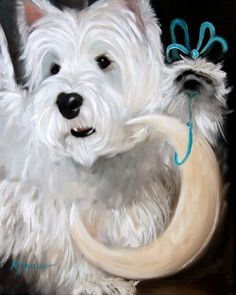 PRINT Westie Hanging the Moon Dog Portrait by Artist Mary Sparrow Smith West Highland Terrier