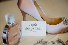 Bride detail photo, wedding shoes and perfume