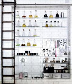 That's how the Remodelista editors like their holidays. Above: Lab flasks, a rolling ladder, and a steel pegboard are among the industrial-style kitchen elements Alexa deconstructs in this w Home Interior, Kitchen Interior, Interior And Exterior, Simple Interior, Restaurant Design, Küchen Design, House Design, Design Ideas, Pegboard Storage
