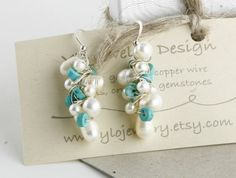 Dangling pearl Cluster earrings in Silver Turquoise by YLOjewelry