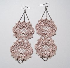 Pink Lace Earrings. $18.00, via Etsy.