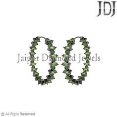 925 Sterling Silver Gemstone Baguettes 30MM Size Hoop Earrings Fashion Jewelry #Handmade #Hoop