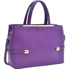 Dasein Framed Satchel Bag with Shoulder Strap - Purple - Satchels ($40) ❤ liked on Polyvore featuring bags, handbags, shoulder bags, purple, dasein satchel, zip zip satchel, satchel handbags, satchel shoulder bag and purple purse