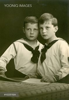 Prince Christoph of Hesse-Cassel (1901-1943) and his twin brother Prince Richard of Hesse-Cassel (1901-1969), youngest sons of Princess Margaret of Prussia and her husband Prince Frederick Charles of Hesse-Cassel. Christoph married Princess Sophie of Greece in 1930, the sister of Prince Philip, Duke of Edinburgh.