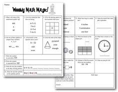 Sunny Days in Second Grade: Weekly Math Magic Freebie!