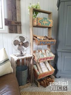 Rustic Soda Crate Stand Made with Reclaimed Barn Wood by Prodigal Pieces   www.prodigalpieces.com