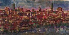 """Town materializes light """"Kaupungin materiassa tuikkii"""", 2017 acrylic paint, sand, thread"""