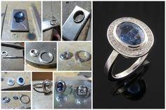 Hacer un anillo de compromiso de platino, diamante y zafiro azul
