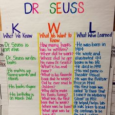KWL Chart for Dr. Seuss week!#Repin By:Pinterest++ for iPad#