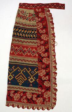Apron, Date: 1800–1939 Culture: Russian Medium: linen, cotton