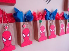 Gift bag idea for spiderman party. Haha my little boy would love this:)-OTGift bag idea for spiderman party. Haha my little boy would love this:)-OT Spider Man Party, Superhero Birthday Party, 4th Birthday Parties, Spiderman Birthday Ideas, Spiderman Theme Party, 8th Birthday, Party Bags, Party Gifts, Party Favors