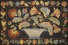 Blue Basket Antique, 36 x 54, was hooked by Lisa Kilgore of Smithfield, North Carolina.