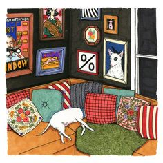 A simply pleasant and enjoyable illustration by Sally Nixon. Such vibrant pops of colour really do add an air of joviality to the piece. Illustration Sketches, Graphic Illustration, Guache, House Drawing, Naive, Art Inspo, Book Art, Artsy, Design Inspiration