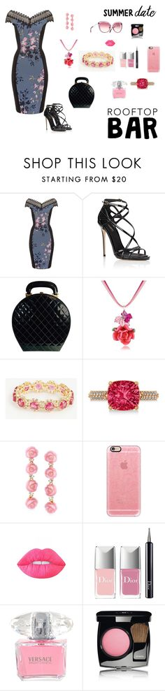 """""""Rooftop Bar Date"""" by kitty-hiruma on Polyvore featuring Little Mistress, Dolce&Gabbana, Chanel, Dolci Gioie, Ann Taylor, Allurez, Ross-Simons, Casetify, Lime Crime and Christian Dior"""