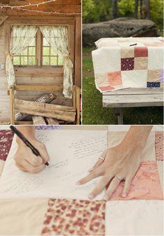 Quilt Sign in idea  #Wedding guest books, #unique wedding guest books, #wedding guest book ideas, #wedding guest book sets, #timelesstreasure