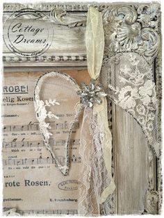 Shabby Chic Angel Wings made of Vintage Lace and Jewelry!