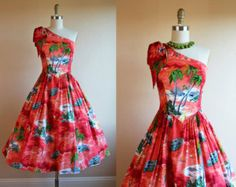 1950s Dress - Vintage 50s Rayon Hawaiian Dress - One Shoulder Novelty Print Fire Red Sundress S - Tiki Torch and Surfers