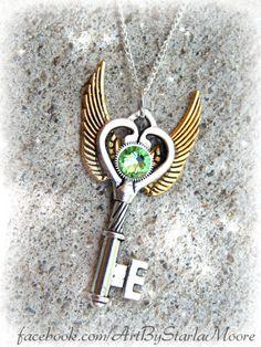 Peridot Gears Fantasy Key by ArtbyStarlaMoore on Etsy, $17.00