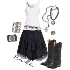 """""""Gypsy Soul"""" by rodeo-chic, lace skirt with cowboy boots Maywald Gringo Boots《 would wear, except not the boots :/ I'd wear black combats instead Country Girls Outfits, Country Girl Style, Country Dresses, Country Fashion, Cowgirl Outfits, Western Outfits, Cowgirl Clothing, Cowgirl Fashion, Rodeo Chic"""