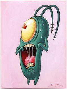 An Art Show Tribute to 'SpongeBob SquarePants' at Gallery Nucleus in Alhambr. - An Art Show Tribute to 'SpongeBob SquarePants' at Gallery Nucleus in Alhambr… – - Disney Drawings, Art Drawings, 90s Cartoons, Spongebob Squarepants, Psychedelic Art, Cartoon Wallpaper, Doodle Art, Cartoon Art, Pop Art