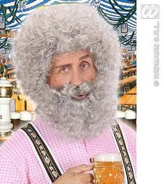 #Light grey #curly afro wig with beard sailor santa #claus old man fancy dress,  View more on the LINK: http://www.zeppy.io/product/gb/2/351233248417/