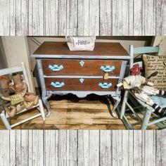 Small dresser/storage chest, distressed grey with blue pulls $124.99 #cherisheverymoment #upcycled #homedecor