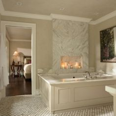 Candle fireplace in bathroom