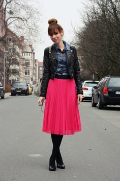 for fall add tights to pink pleated skirt and denim shirt outfit