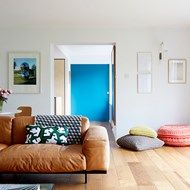 At Home: A modern mid-century house Mid Century Living Room, Mid Century House, L Shaped Modular Kitchen, Living Area, Living Rooms, Best Interior, Home Decor Styles, Bean Bag Chair, Small Spaces