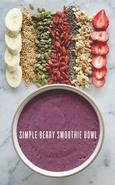 Simple Berry Smoothie Bowl by 3 frozen bananas cup frozen blueberries cup raspberries 1 cup Almond Breeze Almondmilk Coconutmilk Original Unsweetened 3 medjool dates, pits removed Blend until smooth. Healthy Smoothies, Healthy Drinks, Smoothie Recipes, Healthy Snacks, Simple Smoothies, Fruit Smoothies, Raw Food Recipes, Cooking Recipes, Healthy Recipes
