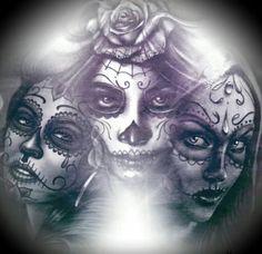 Day Of The Dead Tattoo Sleeve, Day Of The Dead Girl Tattoo, Day Of The Dead Skull, Catrina Tattoo, Clown Tattoo, Sugar Scull, Sugar Skull Art, Body Tattoos, Girl Tattoos