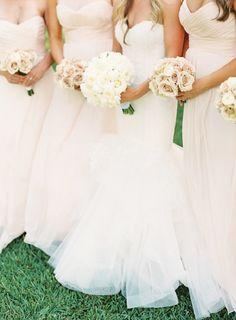 Blush bridesmaid dresses + blush wedding bouquets | fabmood.com #weddinginspiration #blush #blushbridesmaiddresses