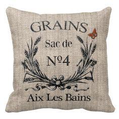 Vintage French Aix Les Bains Grainsack-Effect Throw Pillows