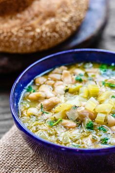 All-star Greek bean soup! Using canned beans for a shortcut, this fasolada is quick weeknight recipe! Flavor-packed from aromatics, spices & a zesty touch!