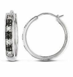 Silver 1/3 CT TDW Black and White Diamond Hoop Earrings (H-I, I3) Amour. $90.99. Save 50% Off!