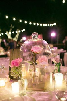 25 Whimsical Wedding Ideas For Disney-Obsessed Couples, Beauty and the beast enchanted rose centrepiece