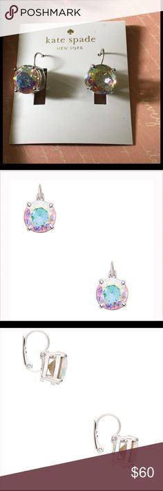 """SALE‼️♠️KATE SPADE LEVERBACKS HANDCRAFTED EARRINGS SALE‼️PRICE FIRM ‼️♠️KATE SPADE LEVERBACKS HANDCRAFTED EARRINGS♠️Shiny rhodium plated metal. Faceted glass stones with a beautiful rainbow/aurora borealis/abalone coloured shine/shimmer to them!! WIDTH: 3/4"""". DROP LENGTH: 1 3/4"""". WEIGHT: 11.5 grams. HANDCRAFTED. Shiny steel posts. 14k gold fill, but they are silver in color. ADD A LITTLE SHINE TO YOUR DAY!!!🌈♠️ Kate Spade Jewelry Earrings"""