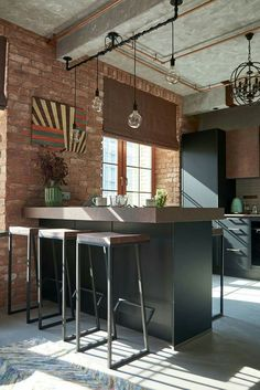 Industrial modern kitchen with exposed brick wall loft design, bar design, Industrial Kitchen Design, Industrial Bar Stools, Vintage Industrial Decor, Metal Bar Stools, Industrial House, Metal Stool, Industrial Kitchens, Industrial Style, Industrial Lighting