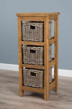 Reclaimed Teak Storage Unit with 3 Natural Wicker Baskets - Sustainable Furniture