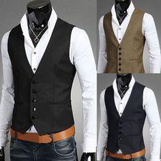 Details about Men Business Jacket Suit Slim Fit Vest Top Casual Business Formal Vest Waistcoat - Suit Fashion Formal Vest, Casual Formal Dresses, Dress Casual, Mens Suit Vest, Mens Suits, Waistcoat Men Casual, Men's Waistcoat, Costumes Slim, Wedding Vest