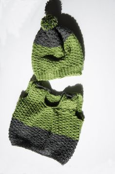 Green grey color block 6-9-12 hand-knitted sweater beanie set, vest, cardigan, knit, baby, boy, girl, unisex, shower gift, birthday, buttons - pinned by pin4etsy.com