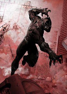 Black Panther - Marvel Dark Edition – Poster - Canvas Print - Wooden Hanging Scroll Frame