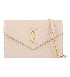 SAINT LAURENT - Monogram quilted leather envelope clutch | Selfridges.com