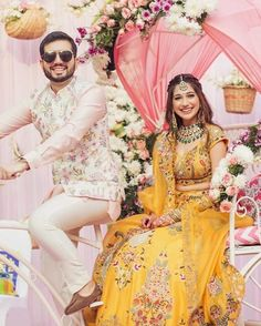 Swoon Over These Gorgeous Mango Color Lehengas That We Spotted On Real Brides. For more such bridal outfit ideas, stay tuned. Wedding Outfits For Groom, Bridal Outfits, Wedding Groom, Wedding Couples, Wedding Hair, Bridal Hair, Wedding Dresses, Couple Photoshoot Poses, Couple Posing