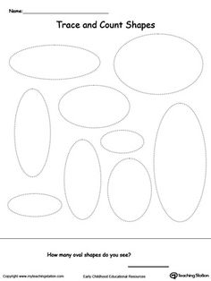Trace and Count Oval Shapes: Practice shape recognition or teach your child about the different kinds of shapes with this  shape printable activity worksheet.