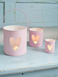 Pink Hurricane Lanterns for Valentines Day Pink Lanterns, Tin Can Lanterns, Hurricane Lanterns, Candle Lanterns, Candles, Tin Can Crafts, Diy And Crafts, Décor Crafts, Decoration Shabby